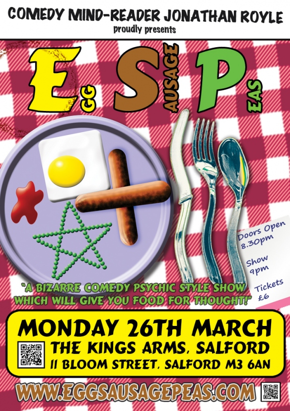 Comedy Mind Reader Jonathan Royle E.S.P - Egg Sausage Peas Kings Arms Manchester Festival Magic & Mentalism