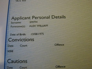 Basic Disclosure Showing no Relevant or Current Criminal Cautions, Charges or Convictions on file for me.
