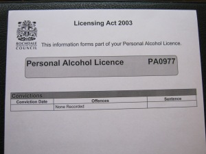 Personal Alcohol License as granted to Alex William Smith due to Clean Disclosure Documents.