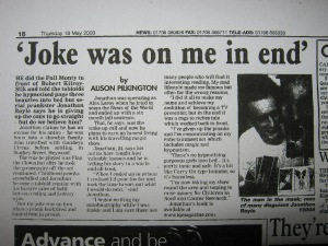 Joke Was On Me In The End – Heywood Advertiser – Thursday May 18th 2000 – by Alison Pilkington