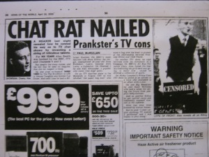 Chat Rat Nailed – News of The World – April 30th 2000 – by Paul McMullan