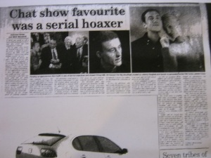 Chat Show Favourite Was A Serial Hoaker – April 30th 2002 – Sunday Times by Nicholas Hellen & Mark Macaskill (Half Page)