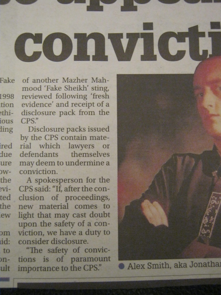 "Alex Smith aka Jonathan Royle Hypnotist & Psychic Entertainer Set to Appeal ""Fake Sheikh"" Mazher Mahmood Conviction"