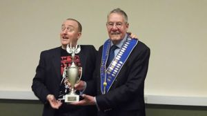 Jonathan Royle Being Awarded the Cabaret Magic Trophy 2016 by Order of the Magi President Alan Johnston