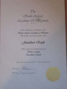 South African Academy of Hypnosis Hall of Fame Award