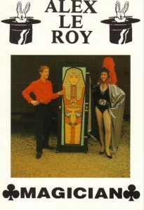 Jonathan Royle in his former Stage Name of Alex-Le-Roy performing Large Scale Stage Illusions like David Copperfield