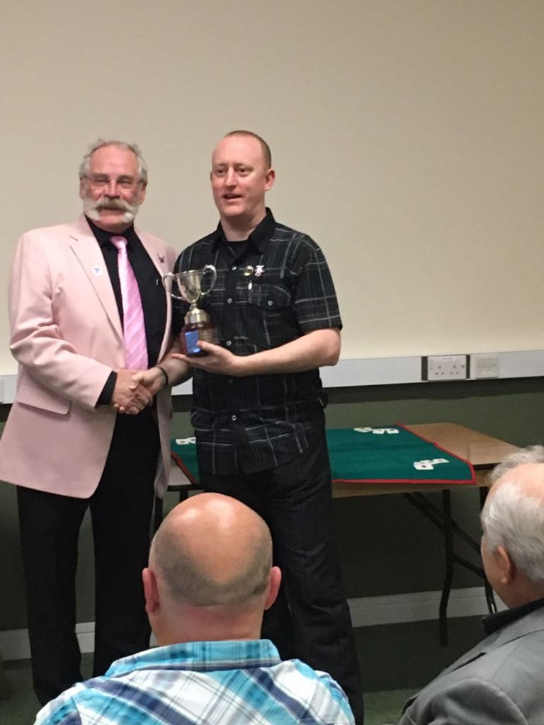 Magician Ian Brown Presents the Trophy for Close-Up Magical Champion to Jonathan Royle at Manchester's Order of the Magi