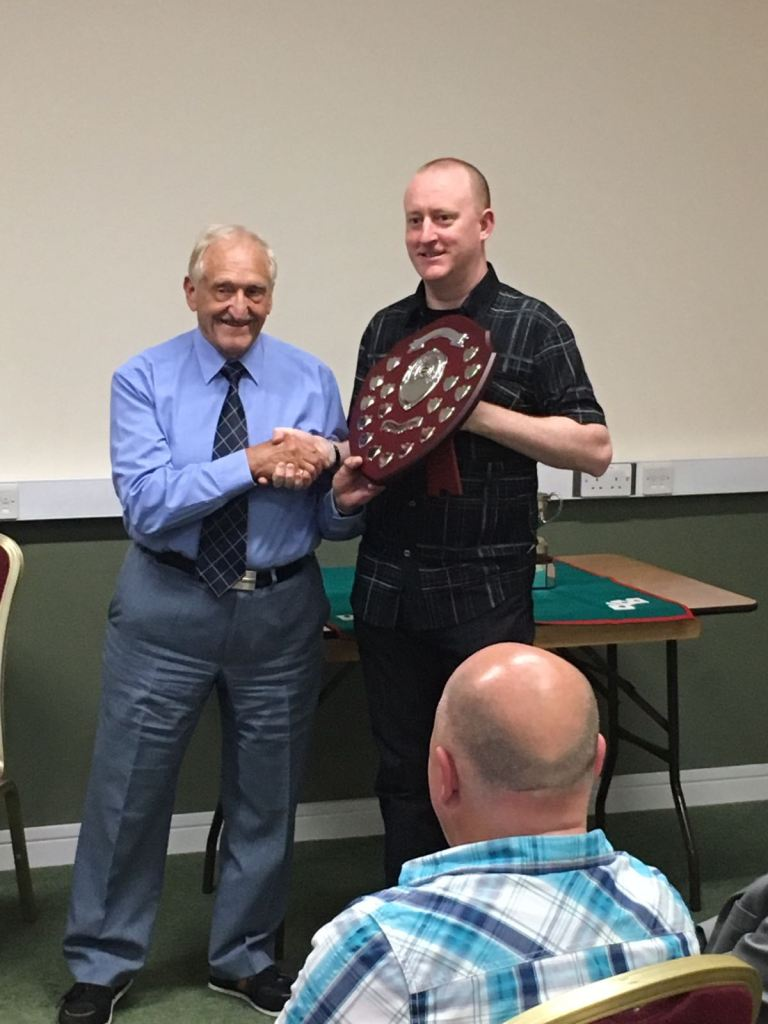 Sly Smith Presenting The Sly Smith Shield for Best Card Trick 2017 to Jonathan Royle at Manchesters Order of the Magi