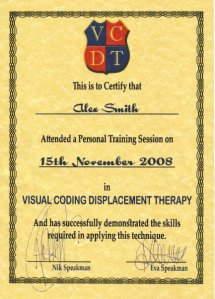 Dr Jonathan Royle as well as being a Certified OldPain2Go Practitioner is also one of only 30 Therapists in the World Trained & Certified by The Speakmans in their Visual Coding Displacement Therapy - VCDT which Royle has developed and now refers to as Visual Confusion Disorientation Techniques