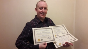 Hypnotherapist Alex Smith aka Jonathan Royle Hypnotist with his NLP Practitioner, Master Practitioner and Trainers Certifications