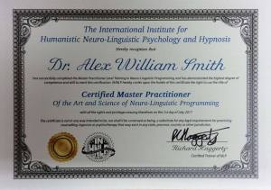 Alex Smith aka Jonathan Royle Certified NLP Master Practitioner