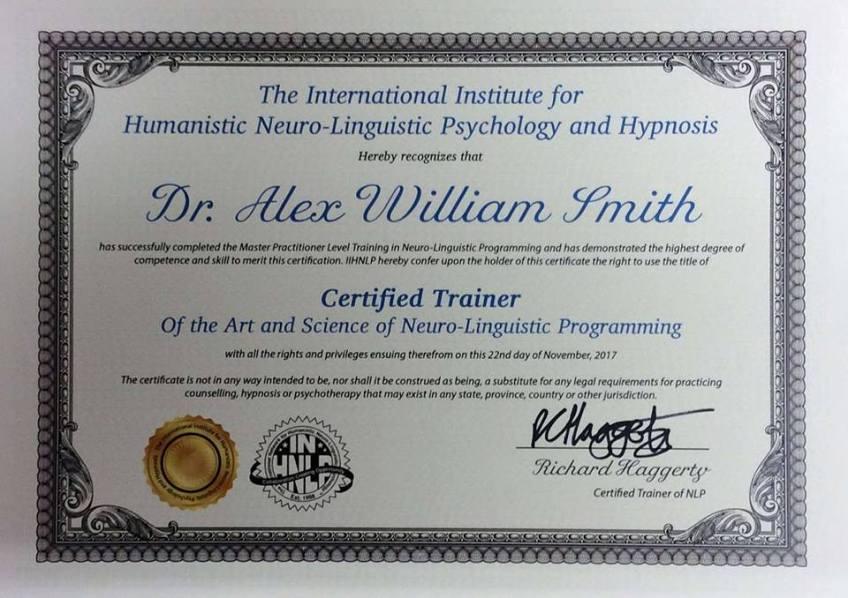 Alex Smith aka Jonathan Royle Certified NLP Trainer
