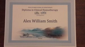 Rochdale, Greater Manchester Resident Alex William Smith now has a GHR & GHSC approved Clinical Hypnotherapy Diploma