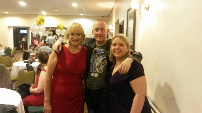 Alex Smith aka Jonathan Royle with his wife Rachel Houghton and Comedienne & Actress Hattie Hayridge after he had performed for the Dale-Con Sci-Fi Celebrity Audience.