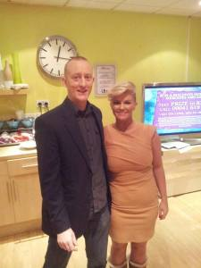 Alex Smith aka Jonathan Royle Hypnotist with Kerry Katona in the Green Room at ITV's This Morning show. Currently Kerry is in Pantomime at Middleton Arena.