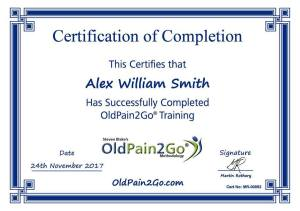 Alex Smith aka Dr. Jonathan Royle is a Certified OldPain2Go Practitioner