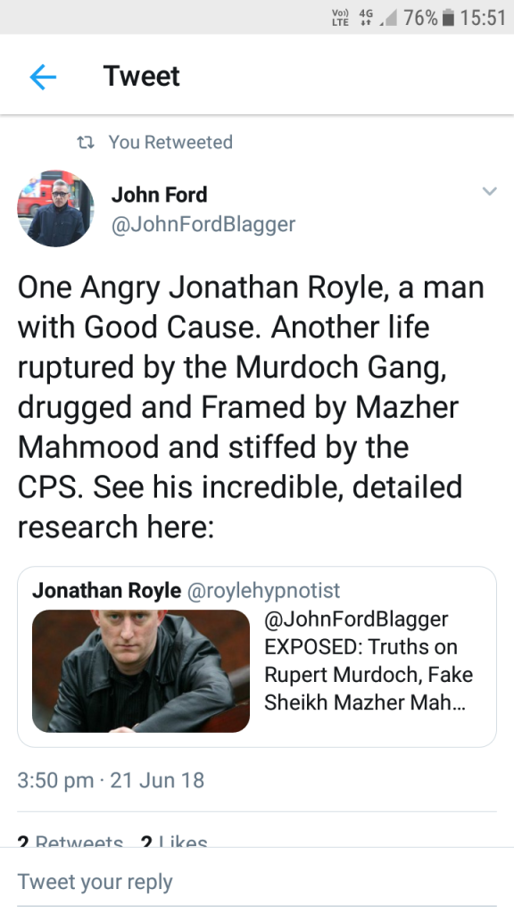 Sunday Times Self Confessed Blagger John Ford stating that I was drugged & framed by Mahmood.