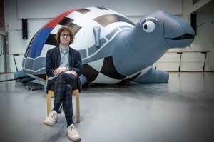 Swedish Performance Artists Andjeas Ejiksson with his Giant Turtle from Television Without Frontiers