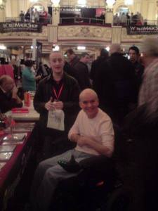 Hypnotist Jonathan Royle at Blackpool Magic Convention in the Magic Dealers Hall with Legendary Magician Wayne Dobson