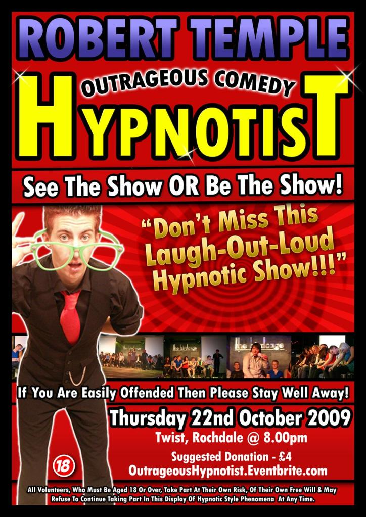 Comedy Stage Hypnotist Rob Temple as taught by Jonathan Royle