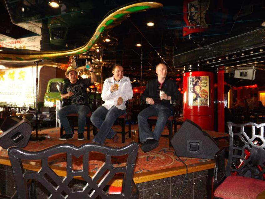 Myself Jonathan Royle Hypnotist with Incredible Hpynotist Richard Barker and Jay Noblezada during a Live panel discussion we gave together on the Hypnotist Entertainment Cruise 2013