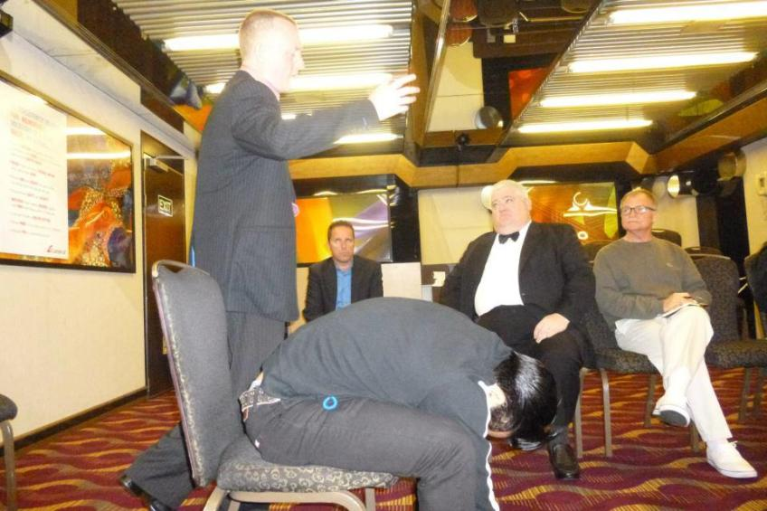 Richard Barker watches on as I demonstrated and taught my unique approaches and techniques to Hypnotic Success
