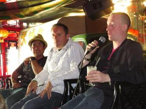 Here I am Jonathan Royle Hypnotist on Stage with Incredible Hypnotist Richard Barker and also Jay Noblezada during a Panel Discussion teaching the delegates on the Hypnotist Entertainment Cruise 2013