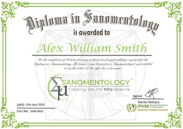 Practitioner Diploma in Sanomentology