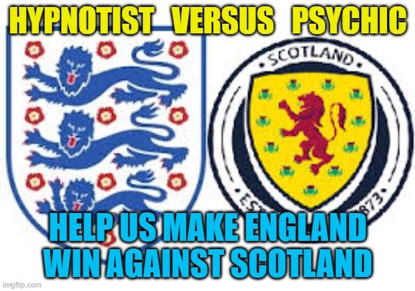 HELP ENGLAND WIN against Scotland Hypnotist Jonathan Royle versus Psychic Uri Geller